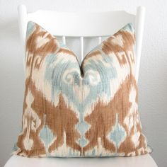 Decorative pillow cover - Throw pillow - Ikat pillow - 20x20 - Ikat - Light Blue - Brown - Cream - Basketweave - Designer fabric. $55.00, via Etsy.