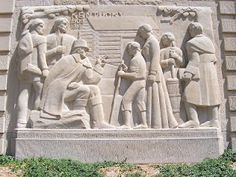 Carvings at the Lincoln Byhood Memorial in Lincoln City, Indiana.