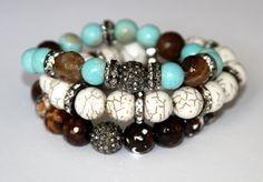 Stretch Beaded Bracelets Boho Glam Agate Bracelet, Turquoise Bracelet, Howlite Crystal Bracelets, 3pc Bracelet Set