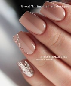 Nude Short Glitter Accent Fingernail Matte Shiny Acrylic Coffin Long Nail Ideas Manicure - French tip - Square shaped long nails - cute summer fall spring fingernails - gel nails - shellac - French Nails, Glitter French Manicure, French Manicures, Glitter Nails, Silver Glitter, Gel Manicures, Nails French Design, Glitter Art, Sparkle Nails