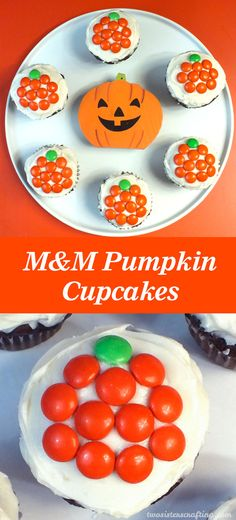 Easy M&M Pumpkin Cupcakes for Halloween - These Halloween Cupcakes are the perfect Halloween Treat - tasty, cute, simple to make and you'll only need cupcakes, frosting and M&M's to make them. Follow su for more fun Halloween Food Ideas.