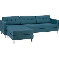 Seating - ditto peacock sectional | CB2 - peacock blue sectional sofa, peacock blue modern sectional, peacock blue track arm sectional, peac...