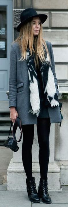 black tights + gray peacoat