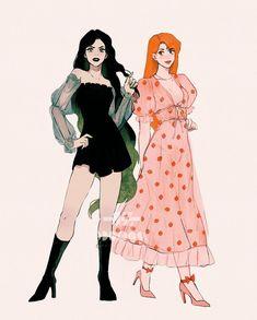 Lesbian Art, Gay Art, Cute Art Styles, Cartoon Art Styles, Desenho Audrey Hepburn, Marceline And Bubblegum, Art Reference Poses, Character Drawing, Pretty Art