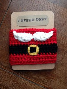 Crochet Santa Coffee Cozy by ThreeRingDesigns on Etsy, $8.00