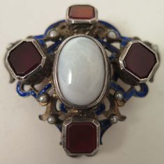 Antique Austro Hungarian 900 Silver Opal Brooch