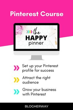 Check out this Pinterest course for bloggers. Pinterest Marketing is essential to grow your blog and business. Learn how to set up your Pinterest profile and grow your traffic with this course by Tricia at Blog Her Way. Click to learn more. #blogtips #pinterestmarketing Blogger Tips, Business Advice, Blogging For Beginners, Make Money Blogging, Pinterest Marketing, Social Media Tips, How To Start A Blog, Profile, Boss Babe