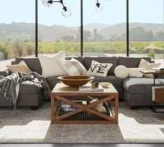 Big Sur Square Arm Upholstered Sofa with Double Chaise Sectional Sectional Coffee Table, Ikea Sectional, Living Room Sectional, Ikea Couch Covers, New Furniture, Furniture Design, Pottery Barn Couch, Sectional Sofa With Chaise, Couches