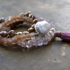 Boho Bracelet Stack with Rose Quartz and Pearls