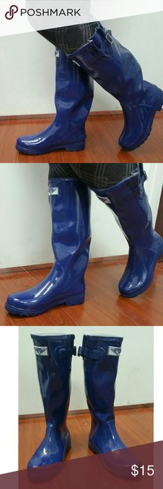 """Women Knee-high Rainboots, #3106, Navy Very lightly used glossy woman tall blue rainboots by Forever Young. Deep blue color. Removable sole. May have minor cosmetic scuffs. 100% rubber rain boot!!! Approx. 14"""" tall, rainboot leg circumference approx. 15"""". Rain boot runs half a size larger than your regular shoes. Not made for wide calves. A true staple in ladies shoes fashion! Forever Young  Shoes Winter & Rain Boots"""