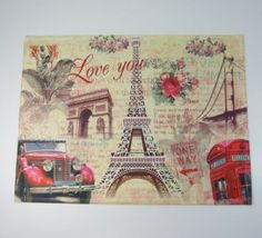 France French Paris Eiffel Tower Red Car Triumphal Arch Rose Phone Booth Door Mat Floor Rug Decor