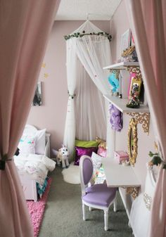 This darling shared girls room is filled to the brim with creative DIY ideas and has plenty of inspiration for your own kid space.