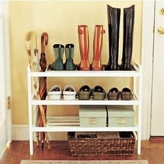 Shoes off by the front door // Williams Sonoma Shoe Rack