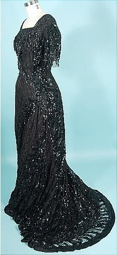 c. 1912 Black Sequin, Beading and Lace Evening Gown w/ Black Taffeta Lining.