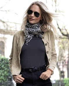 Cropped Cable Cardigan like this look