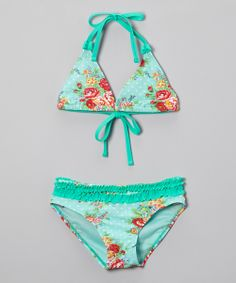 Rose & Mint Floral Ruffle Two-Piece Swimsuit