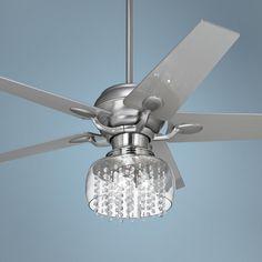 "52"" Casa Optima Brushed Steel and Crystal Ceiling Fan | LampsPlus.com"