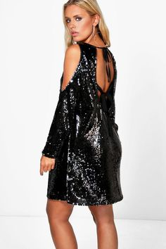 19ac48e4bea9 Plus Riley Cold Shoulder Sequin Dressalternative image Sequin Maxi, Sequin  Party Dress, Sequin Cocktail. Boohoo NA