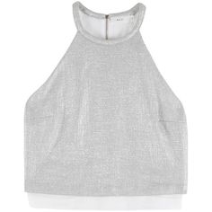 Daisy Crop Metallic Top ($134) ❤ liked on Polyvore featuring tops, crop tops, shirts, halter top, metallic shirt, shirts & tops, shirt crop top and metallic top