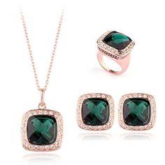 18ct Yellow Gold Jewellery Set With Swarovski Emerald Crystals @ £44.95