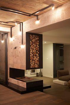Penthouse 1 by Alina Sargsyan, via Behance: Industrial Lighting, Interior Lighting, Home Lighting, Lighting Design, Light In, Roof Light, Modern Fireplace, Fireplace Design, Luxury Homes Interior