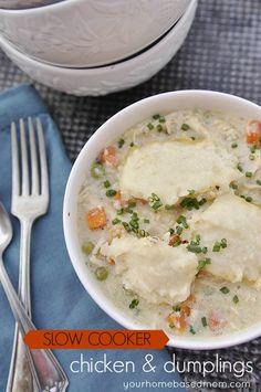 Crock Pot Chicken & Dumplings from yourhomebasedmom.com... YES PLEASE!!! #chicken #dumplings #slowcooker