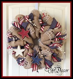 X-Large Patriotic Wreath - Americana Wreath - of July Wreath - Red White… Deco Mesh Crafts, Wreath Crafts, Diy Wreath, Burlap Wreath, Wreath Making, Fourth Of July Decor, 4th Of July Wreath, July 4th, Patriotic Wreath