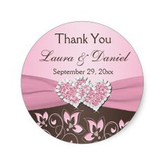 Pink, Brown Floral, Hearts Wedding Favor Sticker