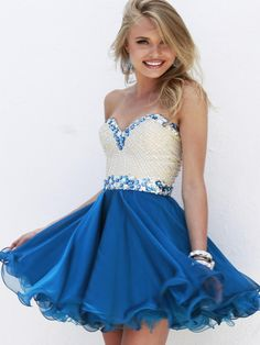 9d715f23d7e Sherri Hill 1929 Beaded Party Dress- short yet not trashy. The white and  blue along with the minimal detailing reminds me of Grecian gowns.