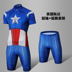 2013 Hot Captain America Cycling Short Sleeves Jersey+Shorts Suit 481976992