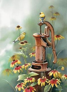 Getting Rusty-Goldfinches by Susan