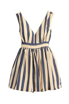 Cute sleeveless, v-neck, blue-striped dress for 34.99 at Romwe