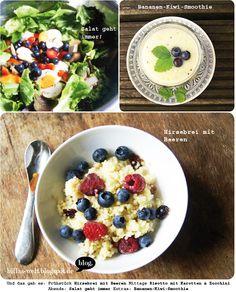 Beerenhunger bei Billa: Hirsebrei mit Beeren. Außerdem Salat und ein Bananen-Kiwi-Smoothie.