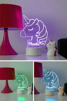 Our personalised unicorn night light is the must have unicorn gift and a perfect Children's light! Who doesn't love unicorns? This adorable unicorn night lamp can be personalised for FREE! Unicorn Bedroom Decor, Unicorn Rooms, Unicorn Decor, Unicorn Presents, Parents Room, Trendy Home, Girl Room, Kids Bedroom, Playroom Ideas