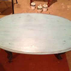 Top of turquoise table