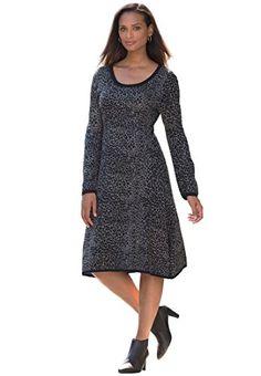 Fashion Bug Plus Size Animal Fit And Flare Sweater Dress www.fashionbug.us #plussize 1X 2X 3X 4X 5X 6X