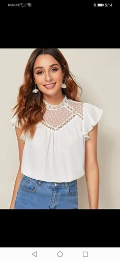 Plain Tops, Flutter Sleeve Top, Lace Insert, Types Of Sleeves, White Lace, Blouses For Women, Fashion News, Summer Blouses, Dobby