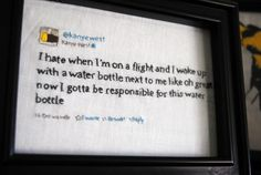 Your Favorite Tweet - Kanye or Non-Ye Hand-stitched and Framed - Made to Order
