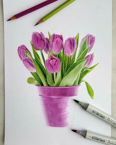 Дорисовала тюльпанчики  . . . . #маркеры #копики #тюльпаны #букет #цветы #каран tanya_muzeinik on Instagram