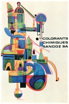 Nice palette. Poster about Sandoz chemical dyes. Illus by Pierre Comte, France, 1963