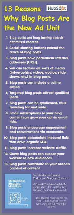Here is a blogging infographic adapted from a HubSpot blog post on 13 Reasons Why the Blog Post Is the New Ad Unit.