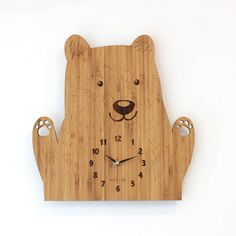 Bamboo Wood Kids Wall Clock   Bear by HOMELOO on Etsy