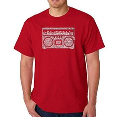Men's Graphic Novelty T-shirt Tees 100% Cotton - Greatest Rap Hits of The 1980's - Red - 4X-Large, Size: 4XL