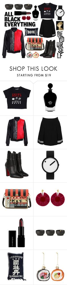 """All Black Everything #2"" by sarina-noel ❤ liked on Polyvore featuring EB Florals, Dolce&Gabbana, Christian Louboutin, Rosendahl, Oscar de la Renta, Stelton, Kurt Adler and Oliver Gal Artist Co."