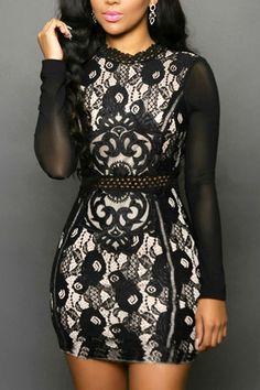 Trendy O Neck Long Sleeves Mesh Patchwork Black Polyester Sheath Mini Dress