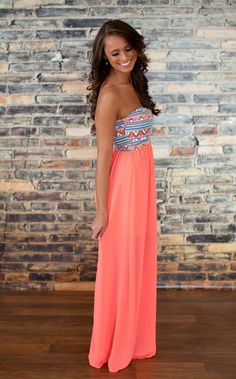 The Pink Lily Boutique - Neon Coral Aztec Maxi, $40.00 (http://thepinklilyboutique.com/neon-coral-aztec-maxi/) beautiful clothes #fashion
