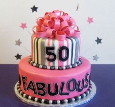 A fabulous birthday cake idea for a special lady. See more birthday party ideas at www. 50th Birthday Cake For Women, 50th Birthday Cupcakes, Moms 50th Birthday, 50th Cake, 60th Birthday Party, Birthday Woman, Birthday Celebration, 50th Party, Birthday Table