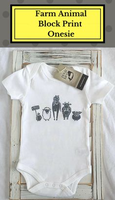 E-I-E-I-O! This Hop & Moo baby bodysuit is a HAND-CARVED BLOCK PRINT created with great care using artist grade materials and printed on our super soft, 100% organic & fair trade (sweat-shop free!) cotton. Printed with non toxic dark grey ink (photo may appear lighter or darker than actual item) in a limited edition - Get 'em. while you can! #affiliate