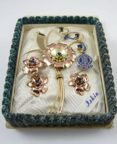 Iskin New In Box Gold Filled on Sterling Flower by KatiesBling, $85.00 #TeamLove #vintage #jewelry #Fashion #etsyretwt