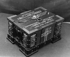 A chest made by crewmen of Admiral Graf Spee for some of Kapitän zur See Hans W. Langsdorff personal effects including his medals, dagger, navy cap, papers and other items. The chest was sent to Mrs. Langsdorff in   Germany and is still in the families possession